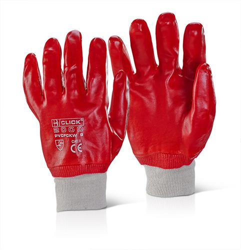 Click 2000 Pvc Gloves - Pvc F/Coated K/Wrist Red S z 10 Pk 10