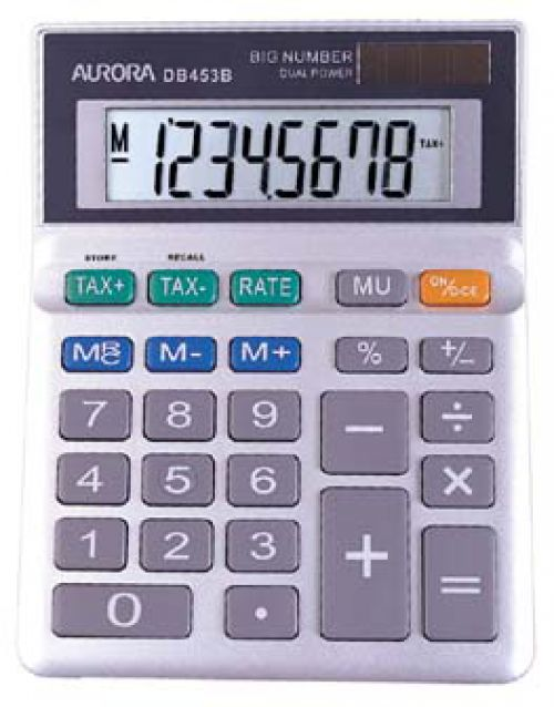 Aurora DB-453B Desktop Calculator Battery/Solar-power 8 Digit 3 Key Memory