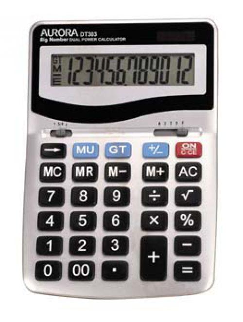 Aurora Desktop Calculator Metal Finish 12 Digit DT303