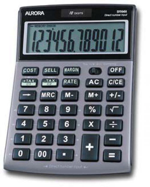 Aurora DT661 Desktop Calculator Multifunction 12 Digit 3 Key Memory