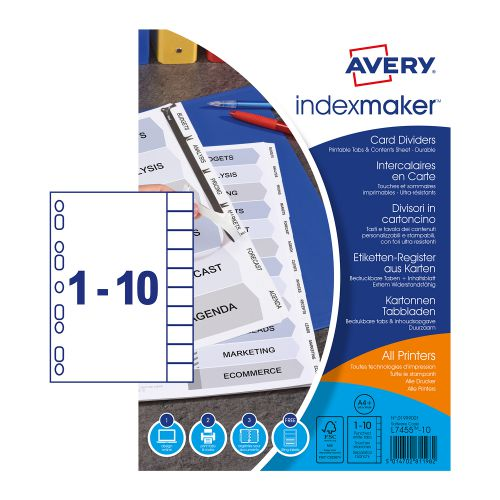 Avery Index Maker Divider 10-Part White A4 Extra-Wide 01999001