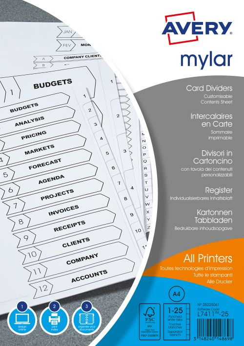 Avery Mylar Divider 1-25 A4 Punched 150gsm White Card with White Mylar Tabs 05225061