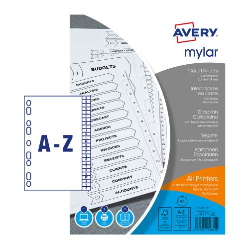 Avery Mylar 26-Part Alpha Divider A-Z A4 Bright White 05231061