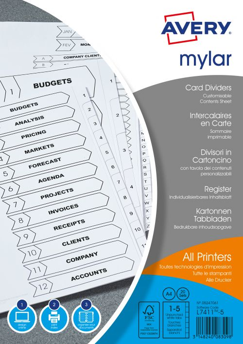 Avery Index Mylar 1-5 Unpunched Mylar-reinforced Tabs 150gsm A4 White Ref 05247061 [Pack 20]
