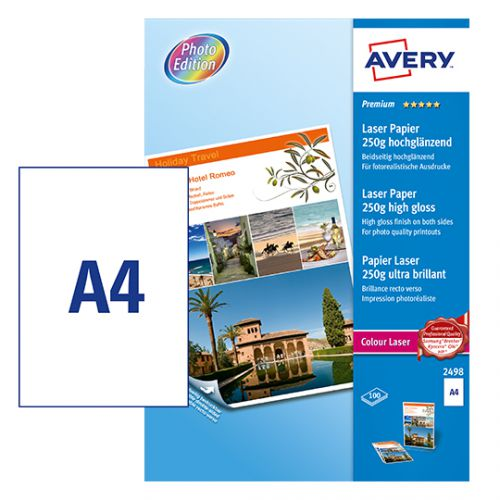 Avery 2498 Photo Paper, 210 x 297 mm, Labels Per Sheet, 100 Labels Per Pack