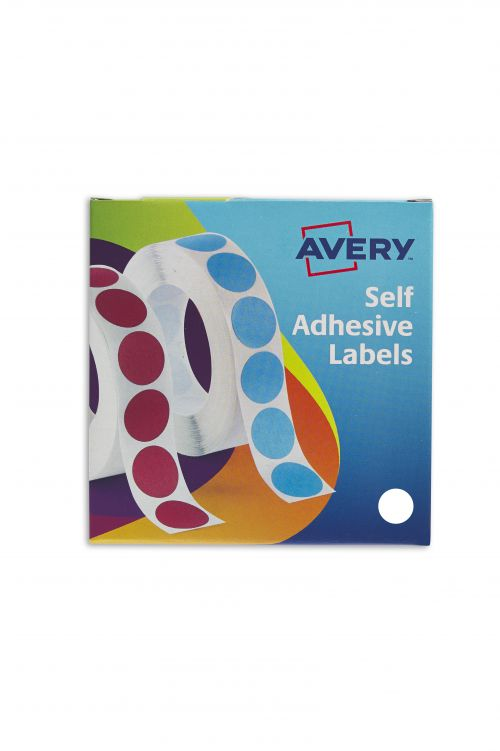 Avery Labels in Dispenser on Roll Round Diam.19mm White Ref 24-404 [1400 Labels]