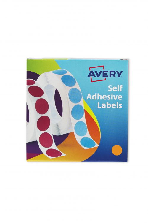 Avery Labels in Dispenser on Roll Round Diam.19mm Orange Ref 24-608 [1120 Labels]