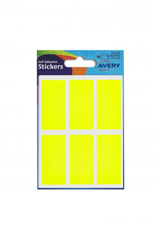 Avery Labels In Packets 25x50mm Neon Yellow Pack 36
