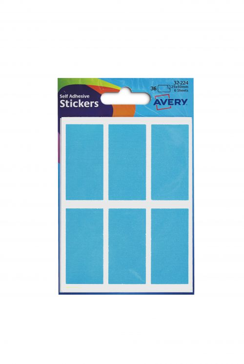 Avery Packets of Labels Rectangular 50x25mm Neon Blue Ref 32-224 [10x36 Labels]
