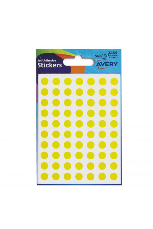 Avery Packets of Labels Round Diam.8mm Yellow Ref 32-303 [10x560 Labels]