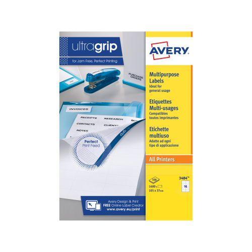 Avery Multipurpose Labels Laser Copier Inkjet 16 per Sheet 105x37mm White Ref 3484 [1600 Labels]