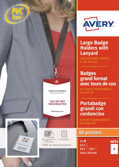 Avery 4834 Badge Holders with Lanyards 148x105mm PK10