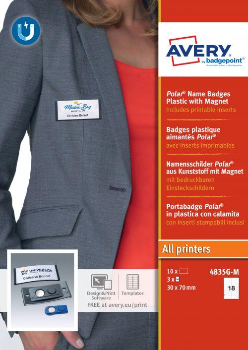 Avery 4835G-M Polar® Badges; 30 x 65mm; 18 Inserts Per Sheet; 54 Inserts Per Pack; 10 Badges Per Box