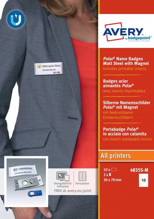 Avery 4835S-M Polar® Badges; 30 x 65mm; 18 Inserts Per Sheet; 54 Inserts Per Pack; 10 Badges Per Box