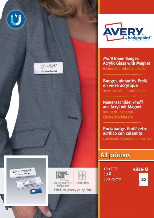 Avery 4836-M Profil® Badges; 27 x 75mm; 20 Inserts Per Sheet; 60 Inserts Per Pack; 10 Badges Per Box