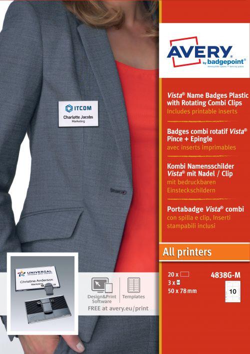 Avery 4838G-M Vista® Badges; 47 x 75mm; 10 Inserts Per Sheet; 30 Inserts Per Pack; 20 Badges Per Box