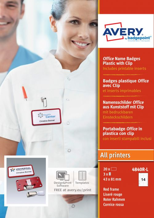 Avery 4840R-L Office Badges, 37 x 75mm, 14 Inserts Per Sheet, 42 Inserts Per Pack, 20 Badges Per Box