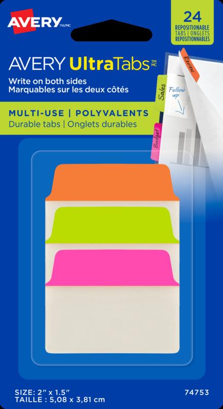 24 Adhesive Tabs Lrg Orange, Green, Pink