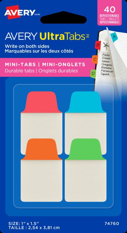 40 Adhesive Mini Tabs Red,Blu,Orange,Grn