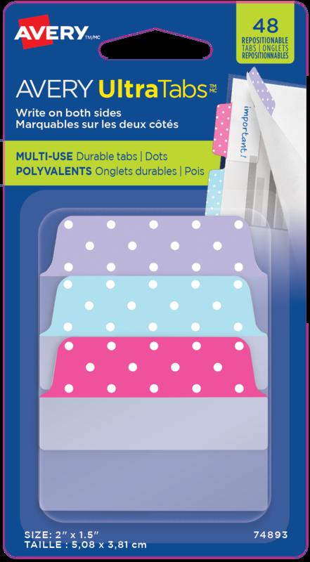 48 Adhesive Tabs-Lrg-Pink, Purple, Blue