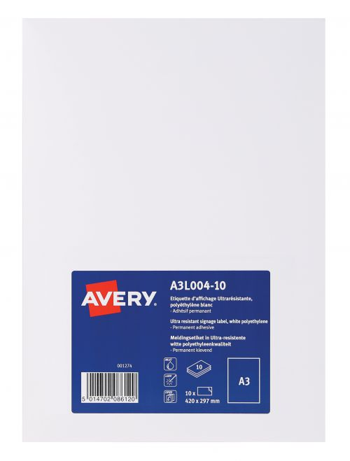 Avery A3L004-10 Permanent Display Labels A3 Permanent PK10