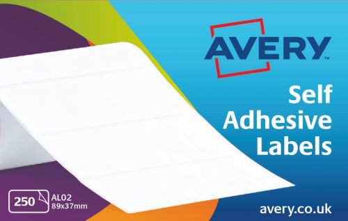 Avery Address Labels Typewriter Roll 89x37mm White Ref AL02 [250 Labels]