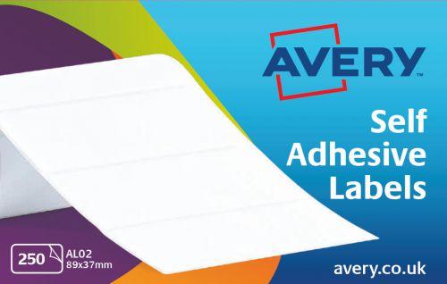 Avery AL02 Address Labels, 89 x 37 mm, Permanent, 250 Labels Per Sheet, 250 Labels Per Pack