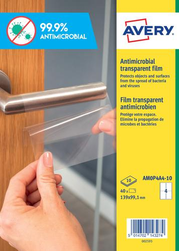 Avery Antimicrobial Film A4 Label 4 Per Sheet 10 Sheets