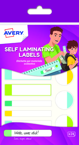 24 self-laminated labels, neon colours, Size: 86 x 17 mm self laminating labels