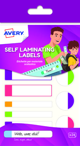 24 self-laminated labels, neon colours, 86 x 17 mm self laminating labels