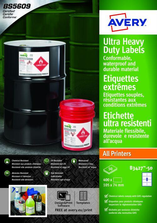 Avery B3427-50 Ultra Resistant Labels, 74 x 105 mm, Permanent, 8 Labels Per Sheet, 400 Labels Per Pack