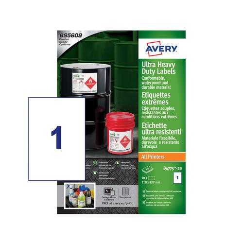 Avery B4775-20 Ultra Resistant Labels - 210 x 297mm - Permanent - 1 Label Per Sheet - 20 Labels Per Pack