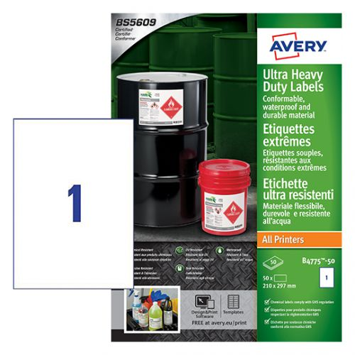 Avery B4775-50 Ultra Resistant Labels, 210 x 297 mm, Permanent, 1 Label Per Sheet, 50 Labels Per Pack