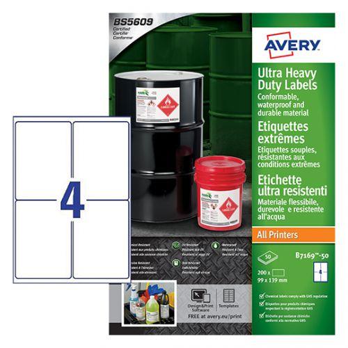 Avery B7169-50 Ultra Resistant Labels, 99 x 139 mm, Permanent, 4 Labels Per Sheet, 200 Labels Per Pack