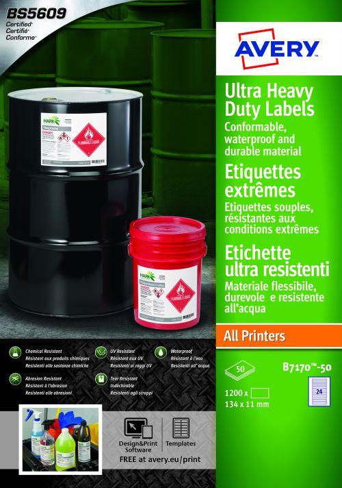 Avery B7170-50 Ultra Resistant Labels, 11 x 134 mm, Permanent, 24 Labels Per Sheet, 1200 Labels Per Pack