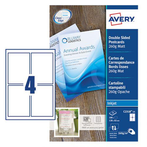 Avery C2318-25 Postcards, 128 x 82 mm, 4 Labels Per Sheet, 100 Labels Per Pack