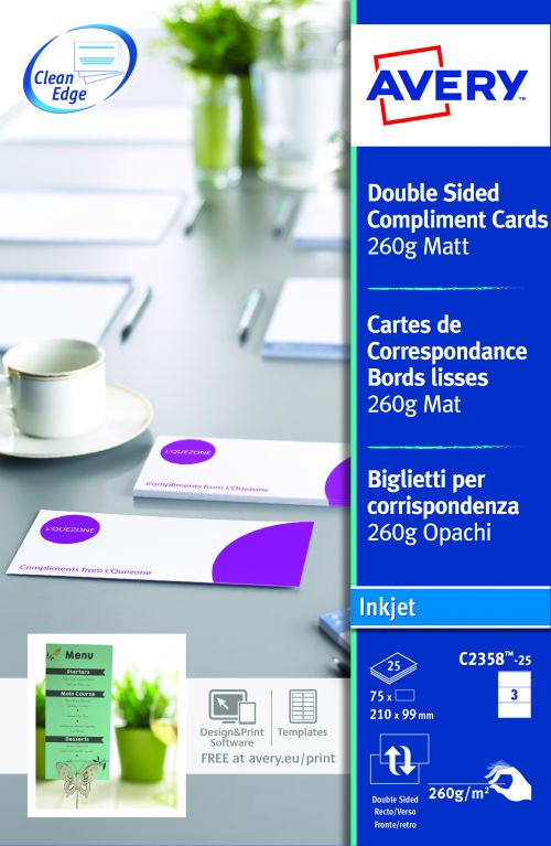 Avery C2358-25 Compliment Cards; 210 x 99 mm; 3 Labels Per Sheet; 75 Labels Per Pack