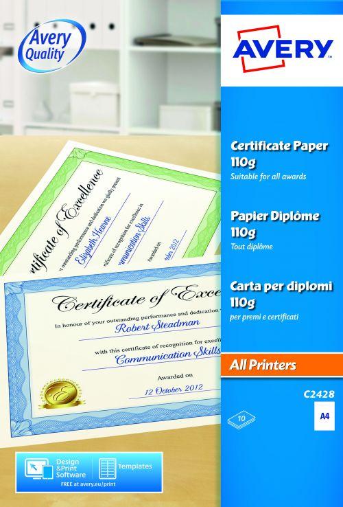 Avery C2428 Certificate Paper, 210 x 297 mm, Labels Per Sheet, 10 Labels Per Pack