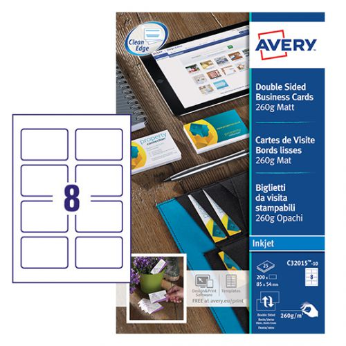 Avery C32015-10 Business Cards, 85 x 54 mm, 8 Labels Per Sheet, 80 Labels Per Pack