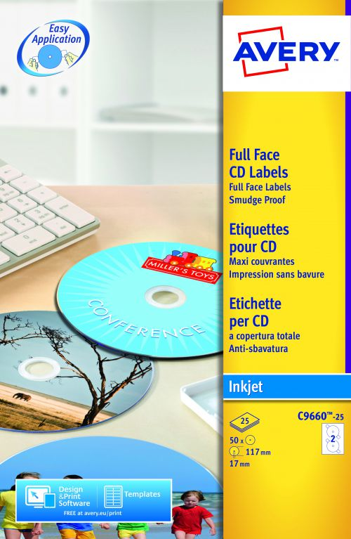 Avery FullFace CD Label Glossy 117mm Diameter C9660-25 (50Labels)