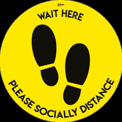 Avery COVID-19 Yellow/Black Social Distance Circular Floor Sticker Ø405mm, 2 per pack