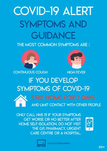 Avery Covid19 Self-Adhesive Poster Symptoms and Guidance A3 (Pack 2)