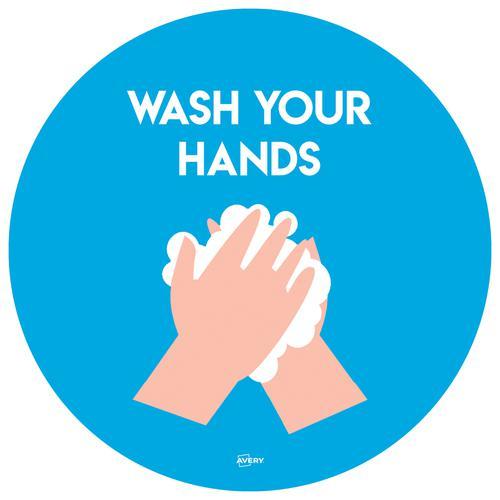 Avery Covid19 Self-Adhesive Poster Wash Hands Circular 275mm Diameter (Pack 2)