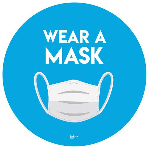 Avery Covid19 Wear A Mask Circular Label 275mm Pk2