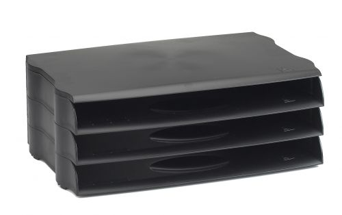 Avery Letter Tray Wide Entry Black Pack 3