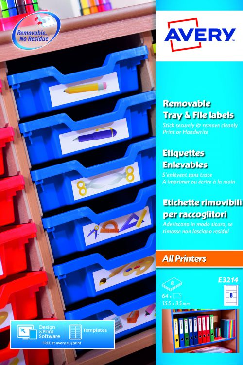 Avery E3214 Removable Tray Labels, 155 x 35 mm, Removable, 8 Labels Per Sheet, 64 Labels Per Pack