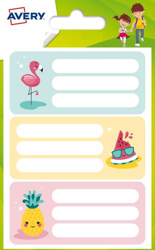 15 Note book labels Flamingo, size: 76 x 34 mm