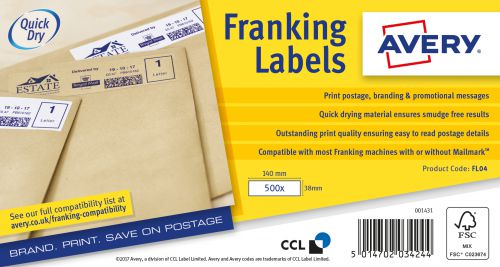 Avery Franking Label 140 x 38mm 1 Per Sheet White (Pack of 1000) FL04