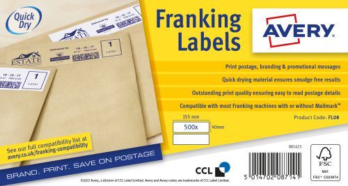 Avery FL08 Frank Labels 155x40 White Pack 2x500