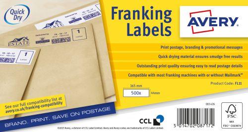 Avery Franking Label 165 x 44mm 1 Per Sheet White (Pack of 1000) FL11